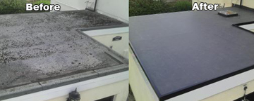 Flat roofing before and after repairs